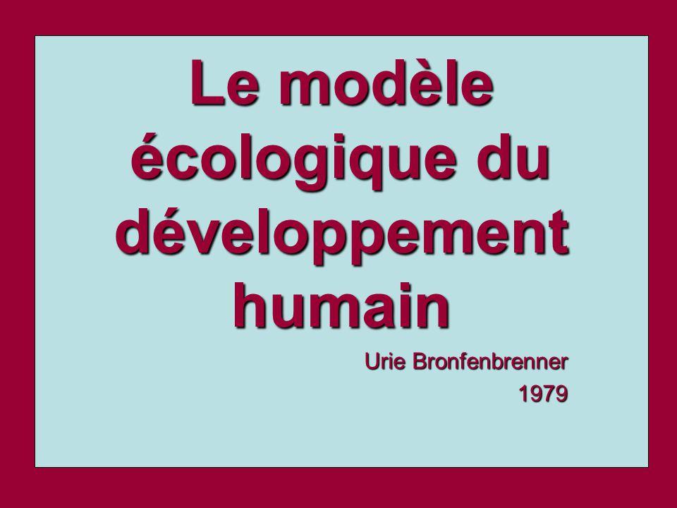 Le modèle écologique du développement humain Urie Bronfenbrenner 1979