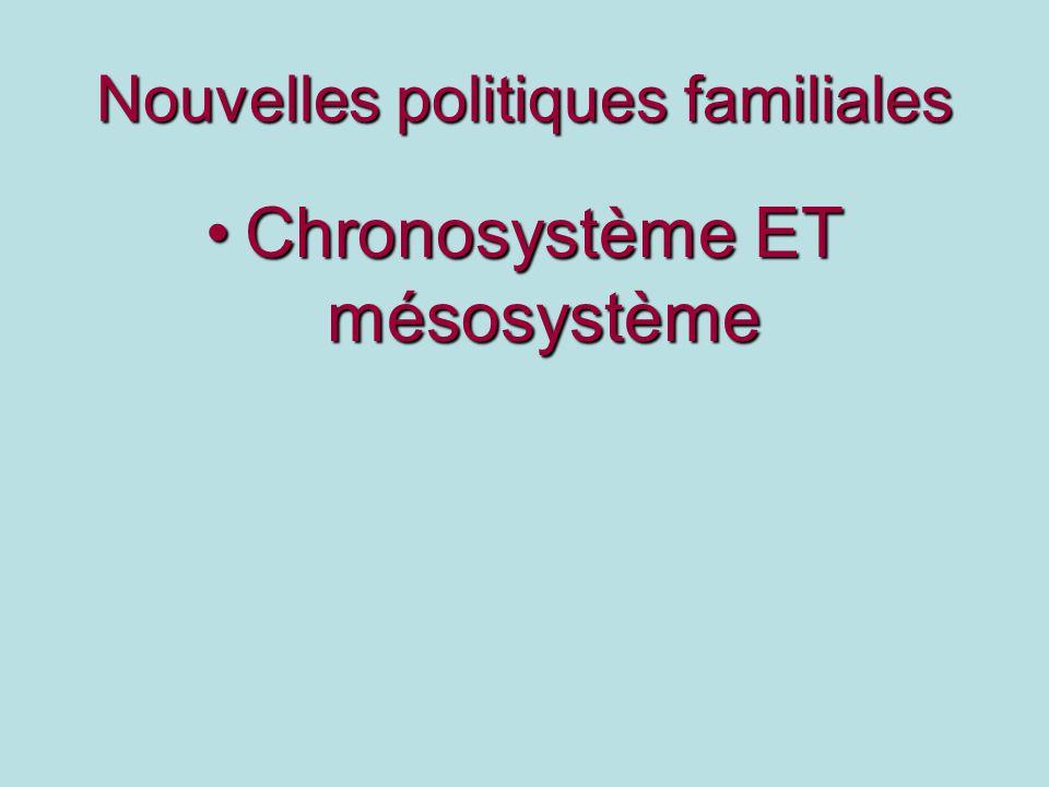 Nouvelles politiques familiales Chronosystème ET mésosystèmeChronosystème ET mésosystème