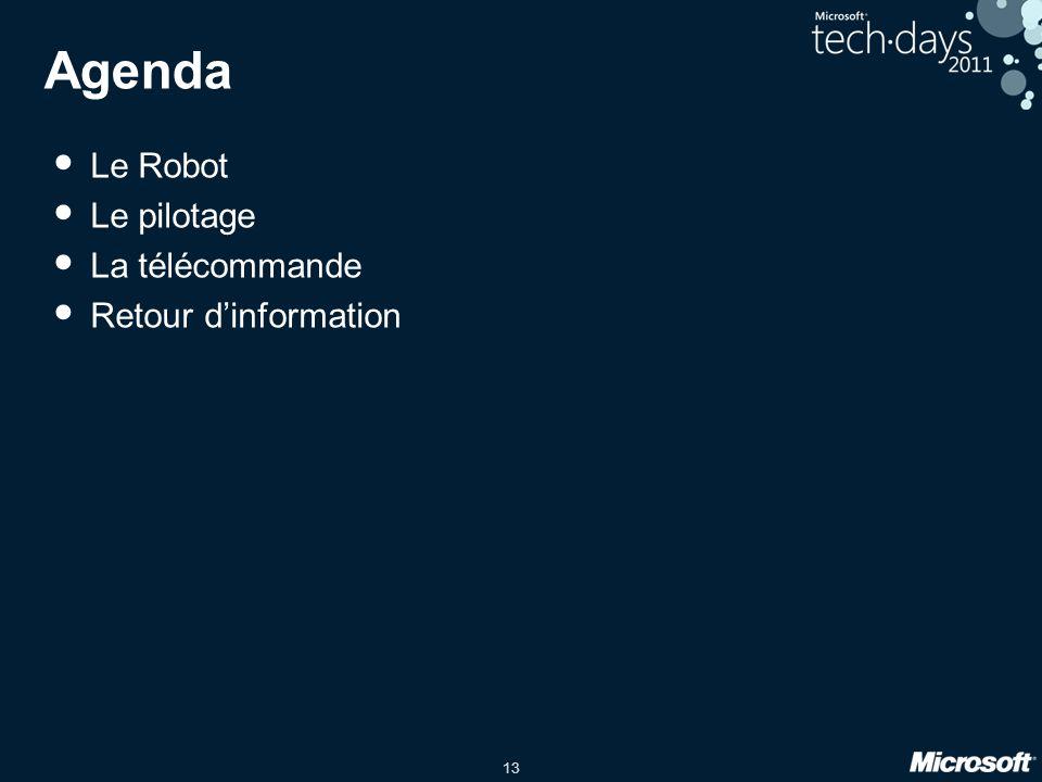 13 Agenda Le Robot Le pilotage La télécommande Retour dinformation