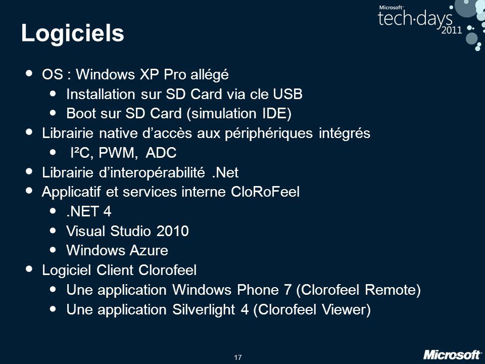 17 Logiciels OS : Windows XP Pro allégé Installation sur SD Card via cle USB Boot sur SD Card (simulation IDE) Librairie native daccès aux périphériques intégrés I²C, PWM, ADC Librairie dinteropérabilité.Net Applicatif et services interne CloRoFeel.NET 4 Visual Studio 2010 Windows Azure Logiciel Client Clorofeel Une application Windows Phone 7 (Clorofeel Remote) Une application Silverlight 4 (Clorofeel Viewer)