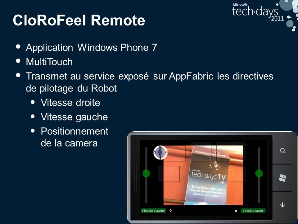 25 CloRoFeel Remote Application Windows Phone 7 MultiTouch Transmet au service exposé sur AppFabric les directives de pilotage du Robot Vitesse droite Vitesse gauche Positionnement de la camera