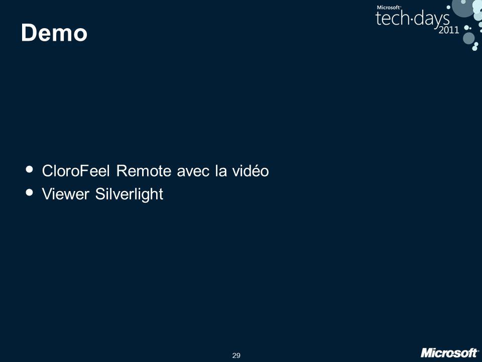 29 Demo CloroFeel Remote avec la vidéo Viewer Silverlight