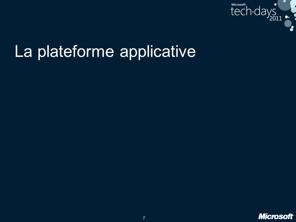 7 La plateforme applicative