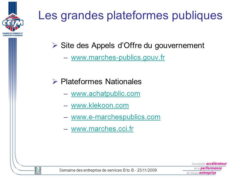Site des Appels dOffre du gouvernement –www.marches-publics.gouv.frwww.marches-publics.gouv.fr Plateformes Nationales –www.achatpublic.comwww.achatpub