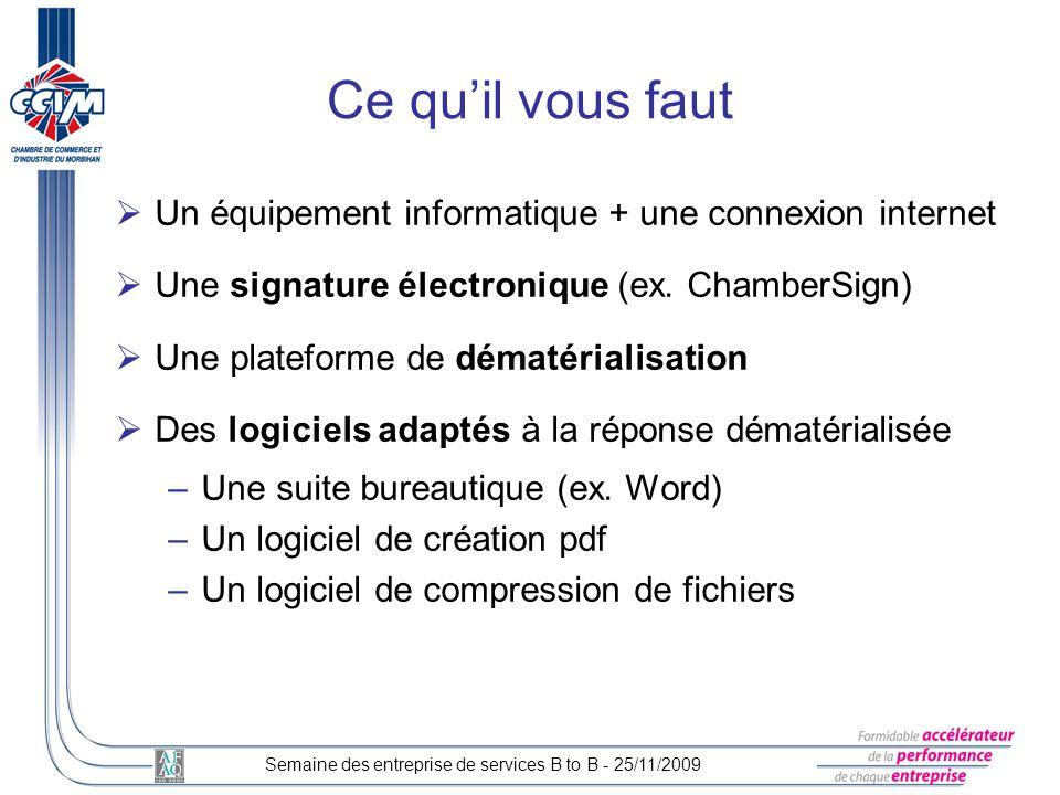 Un équipement informatique + une connexion internet Une signature électronique (ex. ChamberSign) Une plateforme de dématérialisation Des logiciels ada