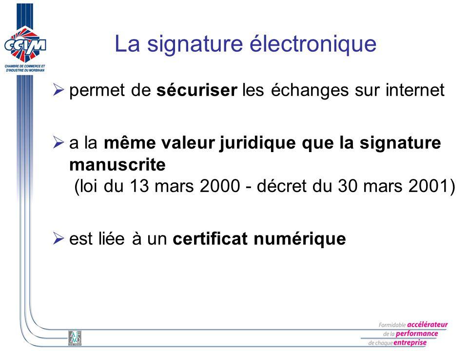 La signature électronique permet de sécuriser les échanges sur internet a la même valeur juridique que la signature manuscrite (loi du 13 mars 2000 -