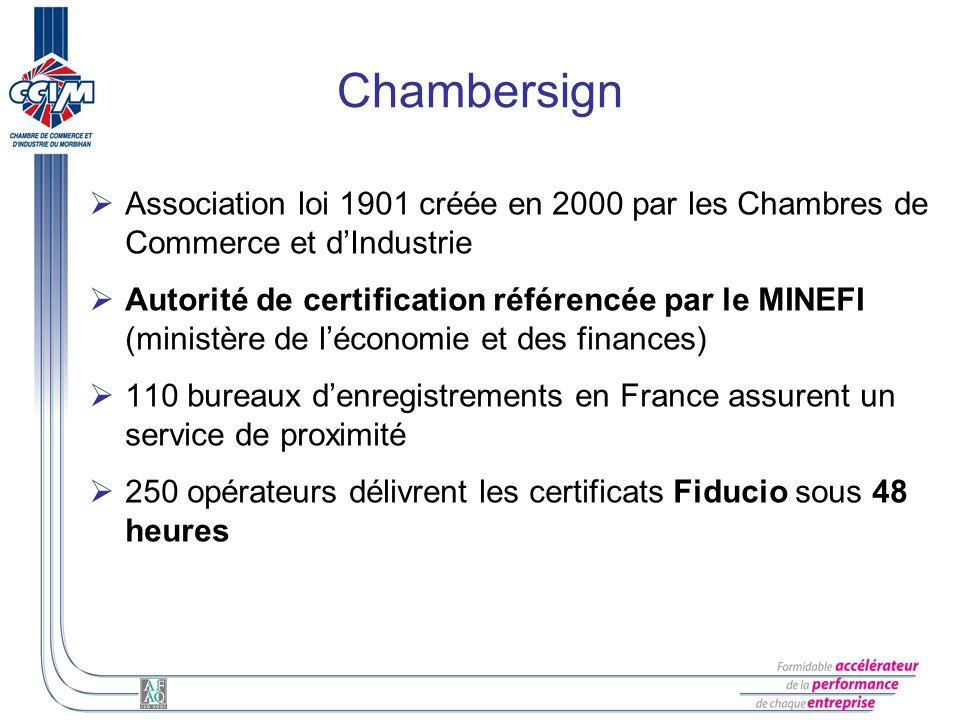 Chambersign Association loi 1901 créée en 2000 par les Chambres de Commerce et dIndustrie Autorité de certification référencée par le MINEFI (ministèr