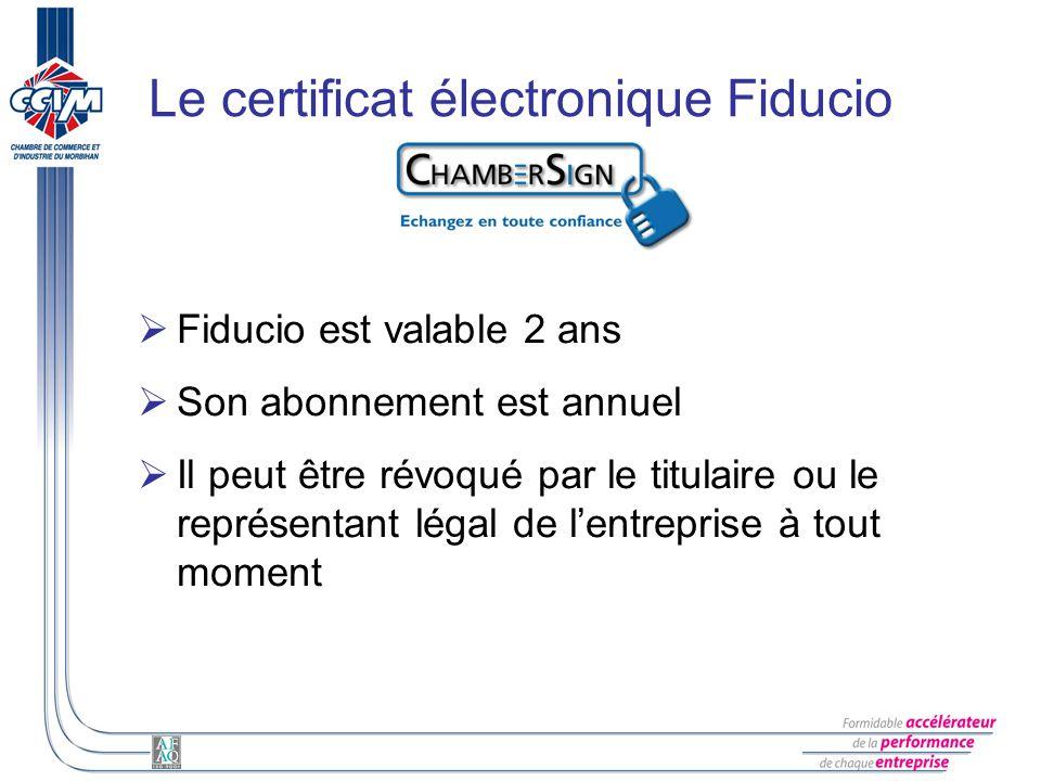 Le certificat électronique Fiducio Fiducio est valable 2 ans Son abonnement est annuel Il peut être révoqué par le titulaire ou le représentant légal