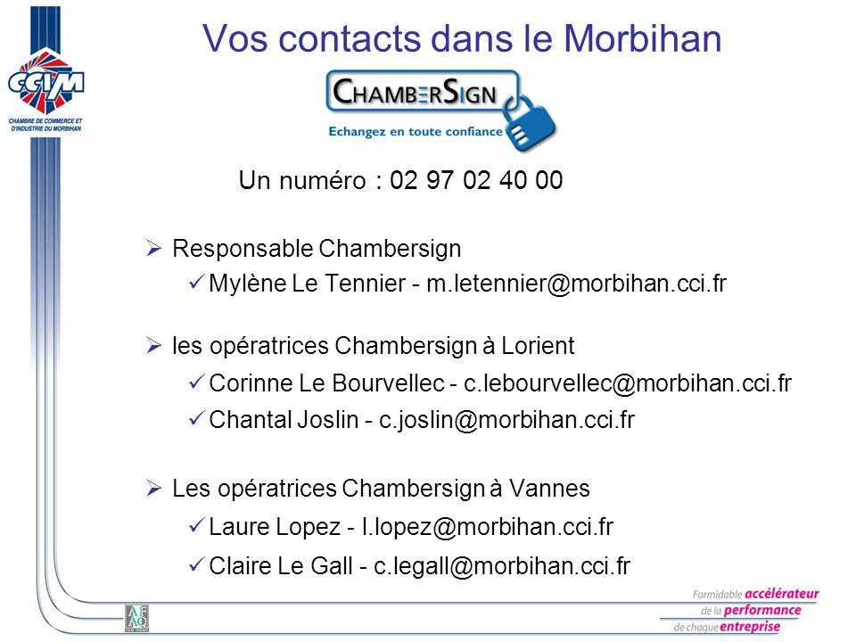 Vos contacts dans le Morbihan Un numéro : 02 97 02 40 00 Responsable Chambersign Mylène Le Tennier - m.letennier@morbihan.cci.fr les opératrices Chamb