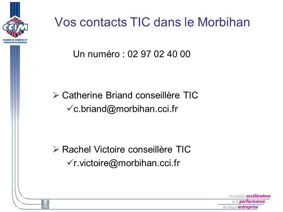 Vos contacts TIC dans le Morbihan Un numéro : 02 97 02 40 00 Catherine Briand conseillère TIC c.briand@morbihan.cci.fr Rachel Victoire conseillère TIC