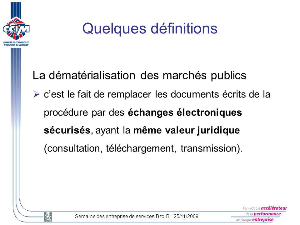 La dématérialisation des marchés publics cest le fait de remplacer les documents écrits de la procédure par des échanges électroniques sécurisés, ayan