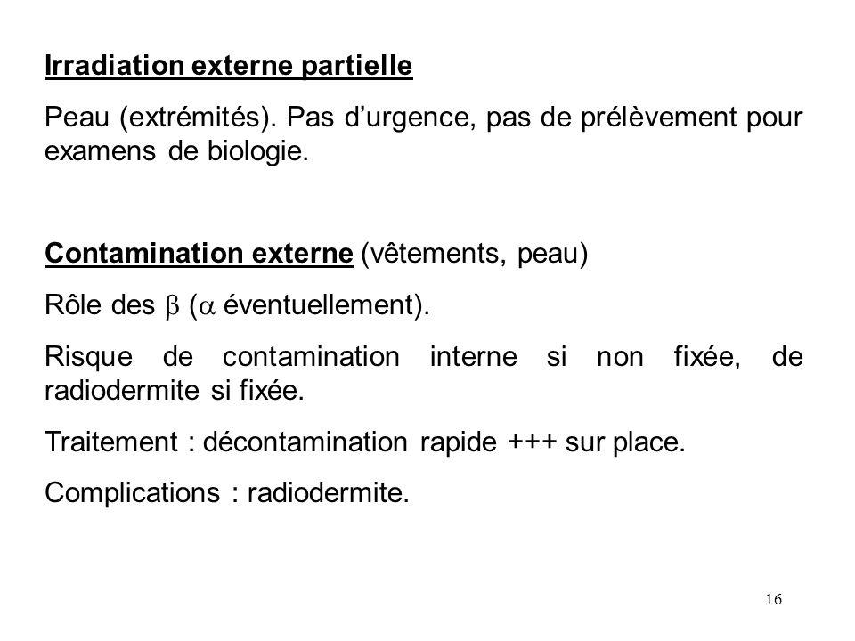 16 Irradiation externe partielle Peau (extrémités). Pas durgence, pas de prélèvement pour examens de biologie. Contamination externe (vêtements, peau)