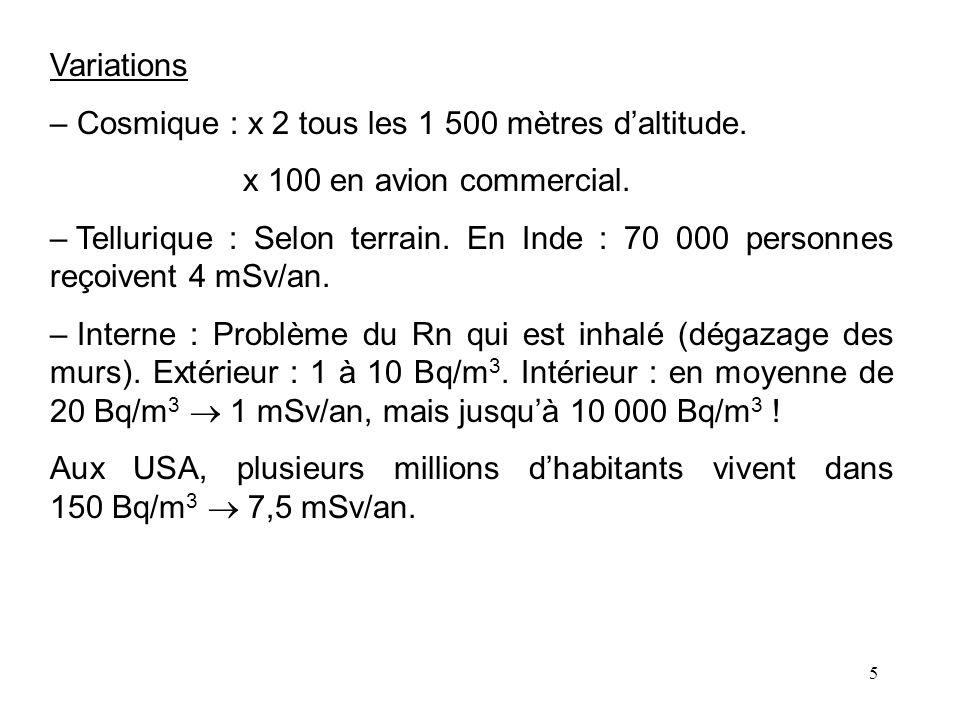 5 Variations – Cosmique : x 2 tous les 1 500 mètres daltitude. x 100 en avion commercial. – Tellurique : Selon terrain. En Inde : 70 000 personnes reç
