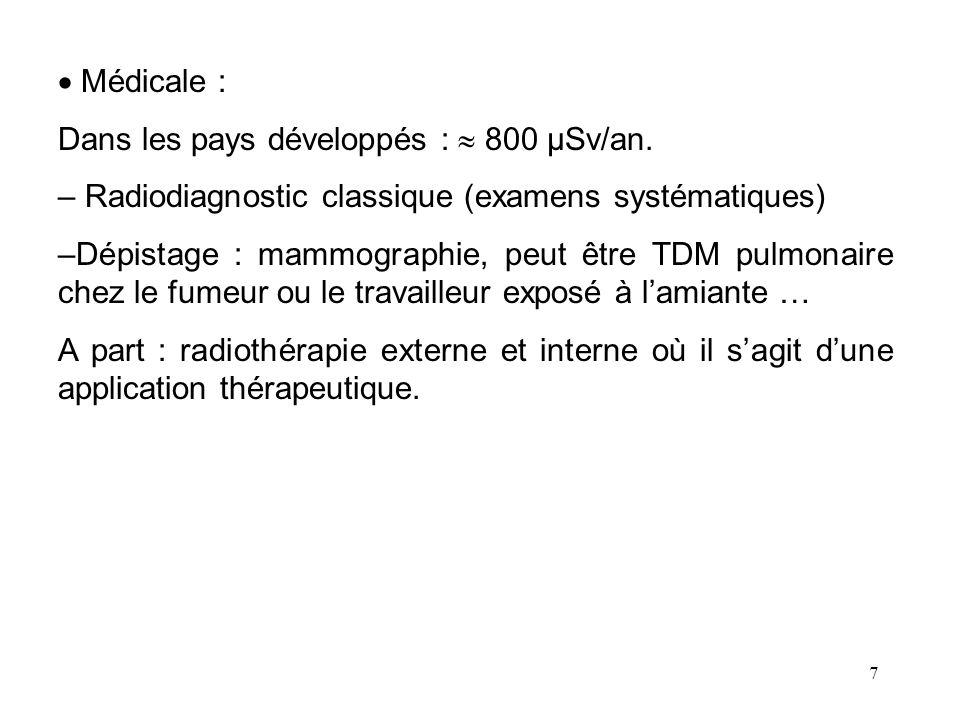 7 Médicale : Dans les pays développés : 800 µSv/an. – Radiodiagnostic classique (examens systématiques) –Dépistage : mammographie, peut être TDM pulmo