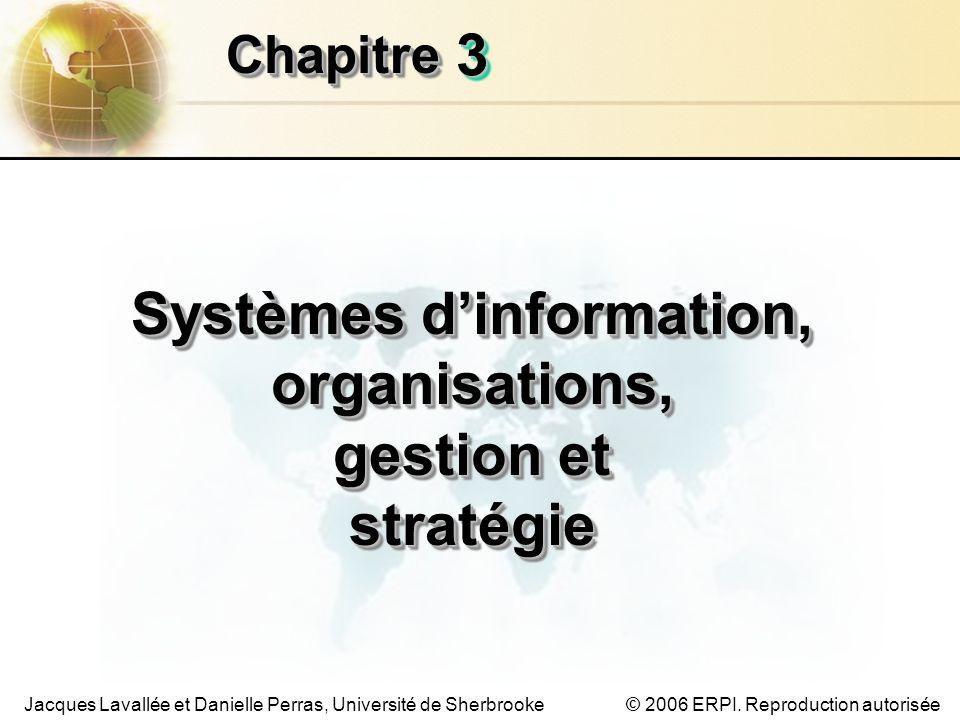 3.22 Les systèmes dinformation de gestion Chapitre 3 –SI, organisations, gestion et stratégie Chapitre 3 – SI, organisations, gestion et stratégie © 2006 ERPI.