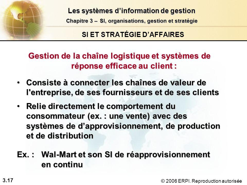 3.17 Les systèmes dinformation de gestion Chapitre 3 –SI, organisations, gestion et stratégie Chapitre 3 – SI, organisations, gestion et stratégie © 2006 ERPI.