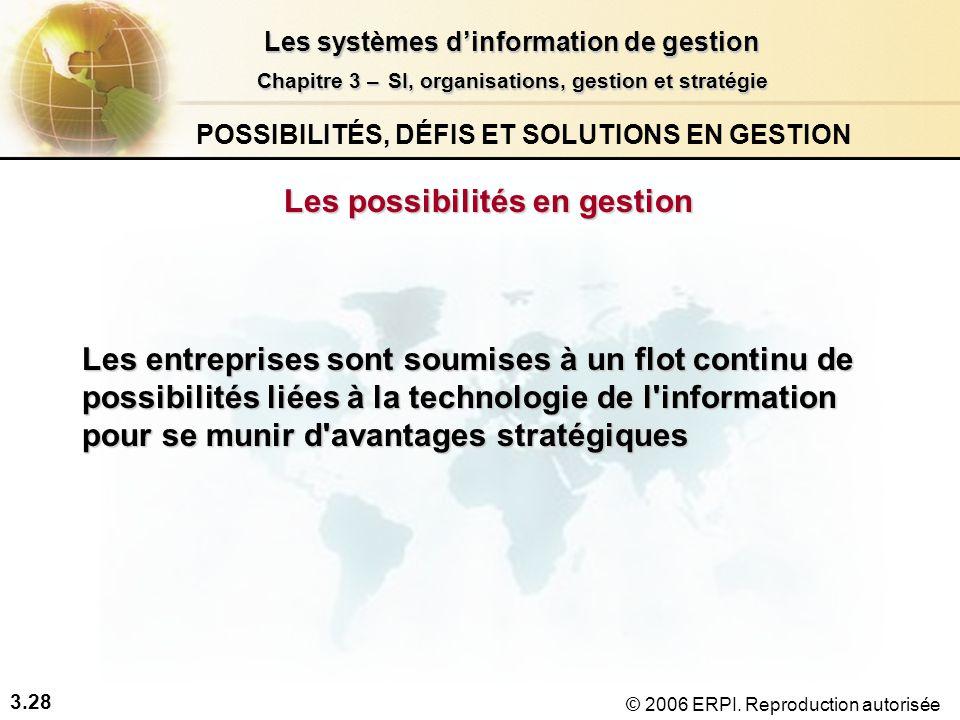 3.28 Les systèmes dinformation de gestion Chapitre 3 –SI, organisations, gestion et stratégie Chapitre 3 – SI, organisations, gestion et stratégie © 2006 ERPI.