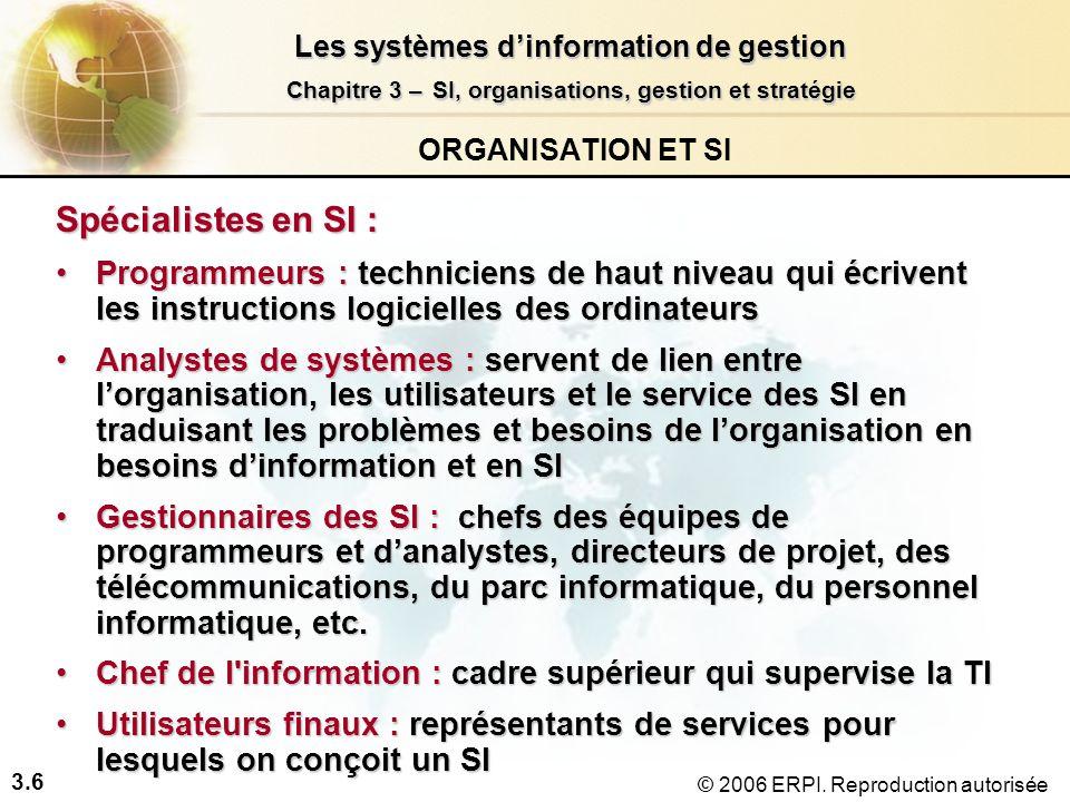 3.7 Les systèmes dinformation de gestion Chapitre 3 –SI, organisations, gestion et stratégie Chapitre 3 – SI, organisations, gestion et stratégie © 2006 ERPI.