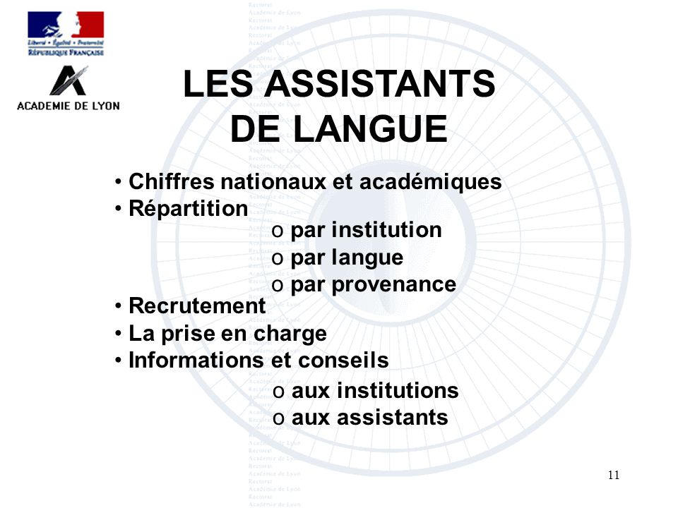 11 LES ASSISTANTS DE LANGUE Recrutement La prise en charge Informations et conseils Chiffres nationaux et académiques Répartition o par institution o par langue o par provenance o aux institutions o aux assistants