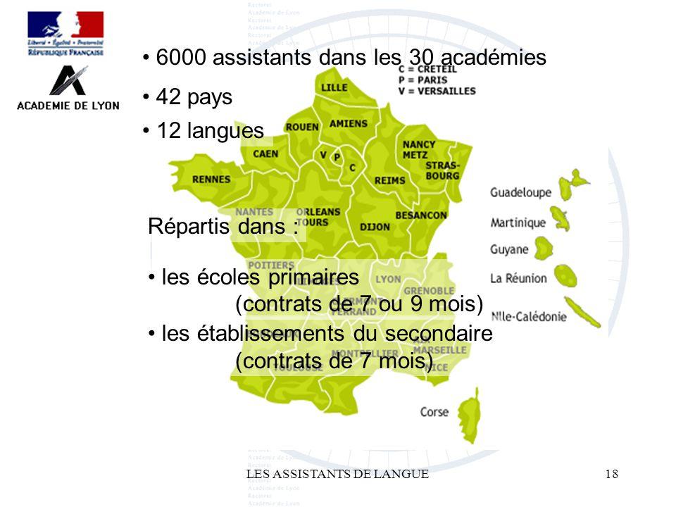 LES ASSISTANTS DE LANGUE18 6000 assistants dans les 30 académies 42 pays 12 langues Répartis dans : les écoles primaires (contrats de 7 ou 9 mois) les établissements du secondaire (contrats de 7 mois)