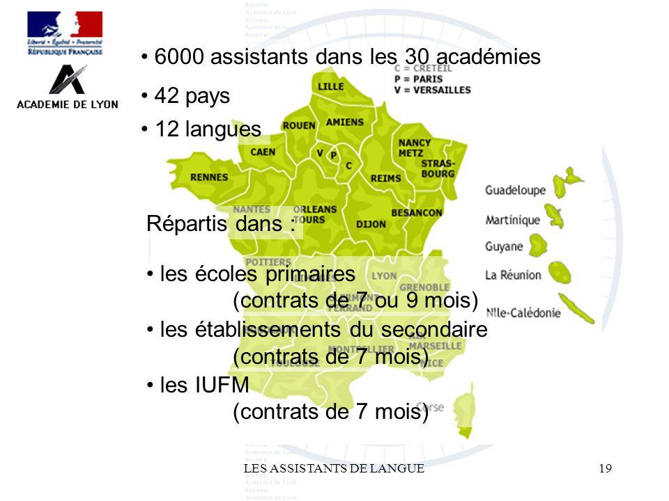 LES ASSISTANTS DE LANGUE19 6000 assistants dans les 30 académies 42 pays 12 langues Répartis dans : les écoles primaires (contrats de 7 ou 9 mois) les