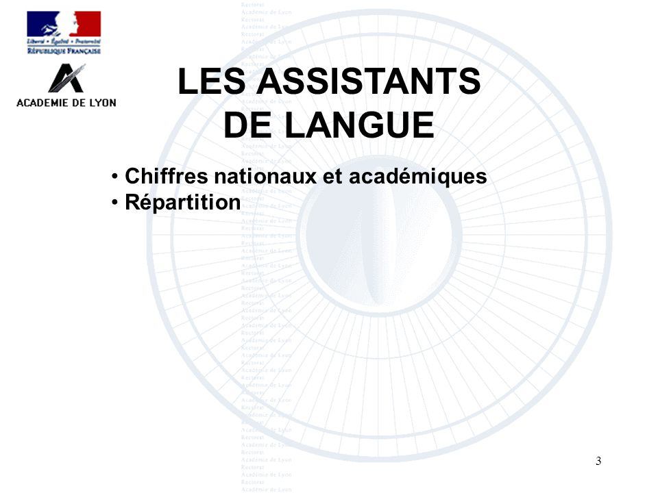 3 LES ASSISTANTS DE LANGUE Chiffres nationaux et académiques Répartition