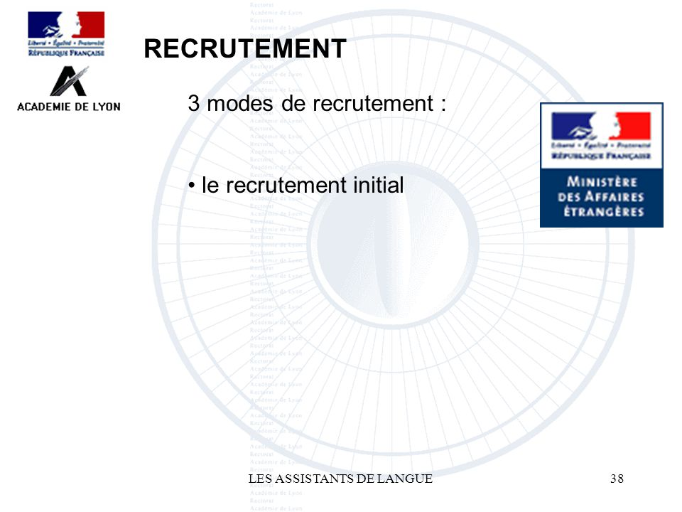 LES ASSISTANTS DE LANGUE38 3 modes de recrutement : le recrutement initial RECRUTEMENT