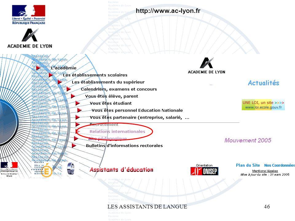 LES ASSISTANTS DE LANGUE46 http://www.ac-lyon.fr