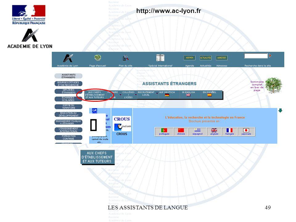 LES ASSISTANTS DE LANGUE49 http://www.ac-lyon.fr