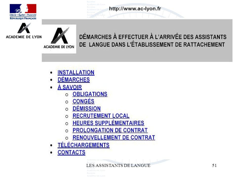LES ASSISTANTS DE LANGUE51 http://www.ac-lyon.fr