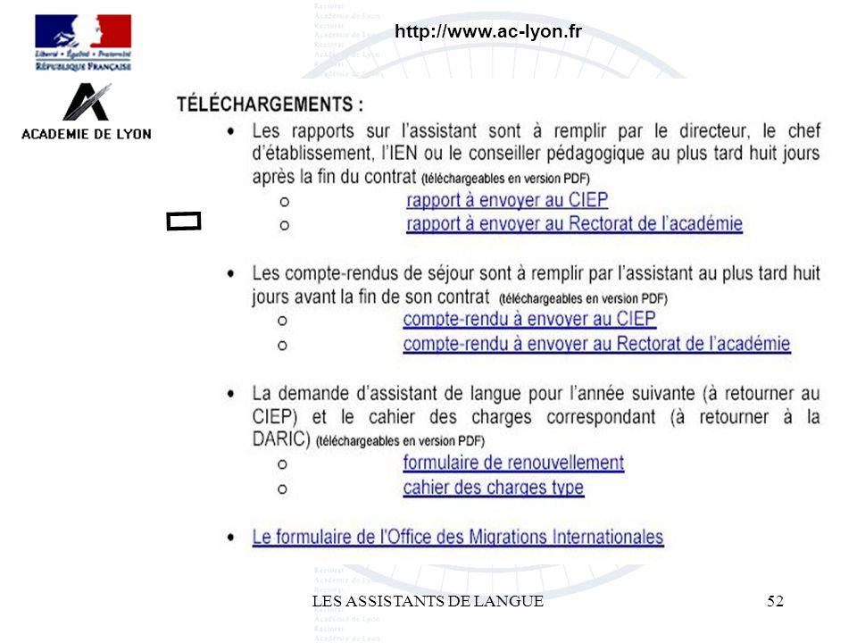 LES ASSISTANTS DE LANGUE52 http://www.ac-lyon.fr