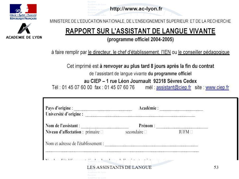 LES ASSISTANTS DE LANGUE53 http://www.ac-lyon.fr