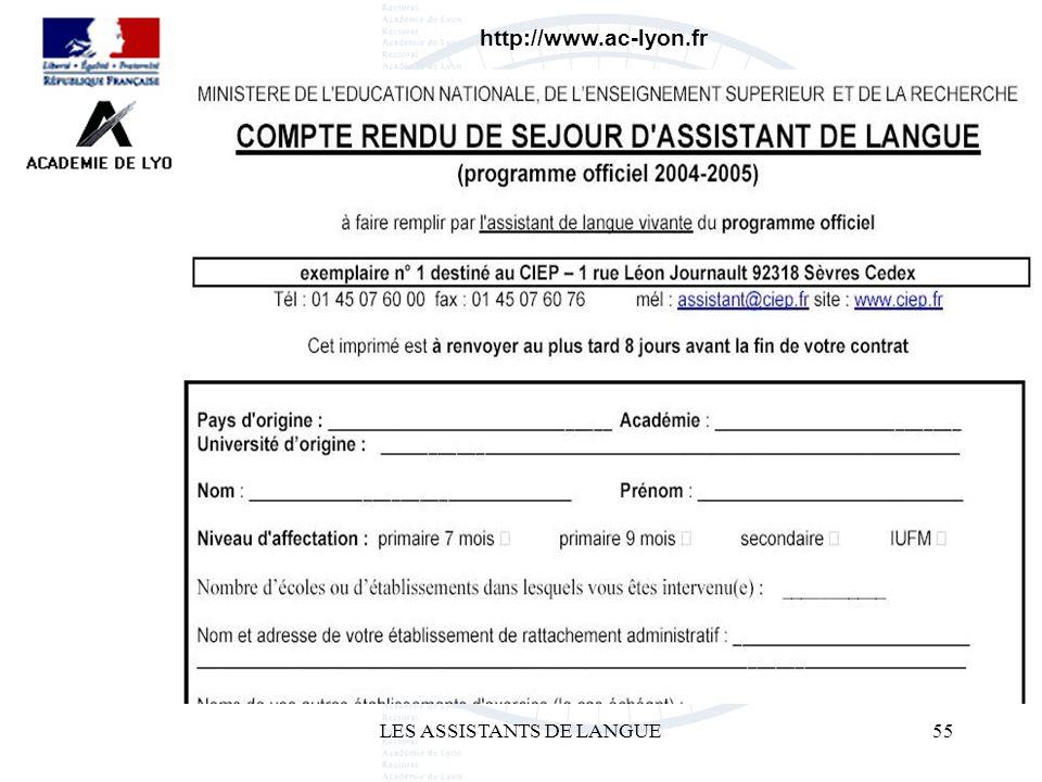LES ASSISTANTS DE LANGUE55 http://www.ac-lyon.fr