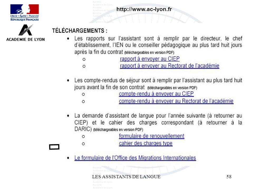 LES ASSISTANTS DE LANGUE58 http://www.ac-lyon.fr