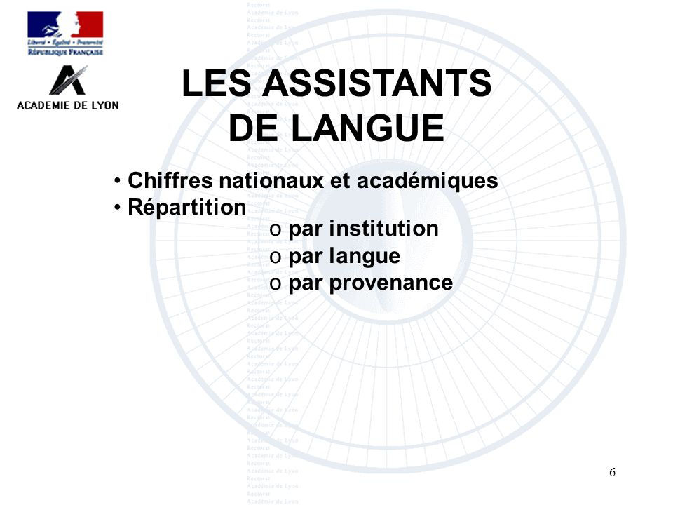 6 LES ASSISTANTS DE LANGUE Chiffres nationaux et académiques Répartition o par institution o par langue o par provenance