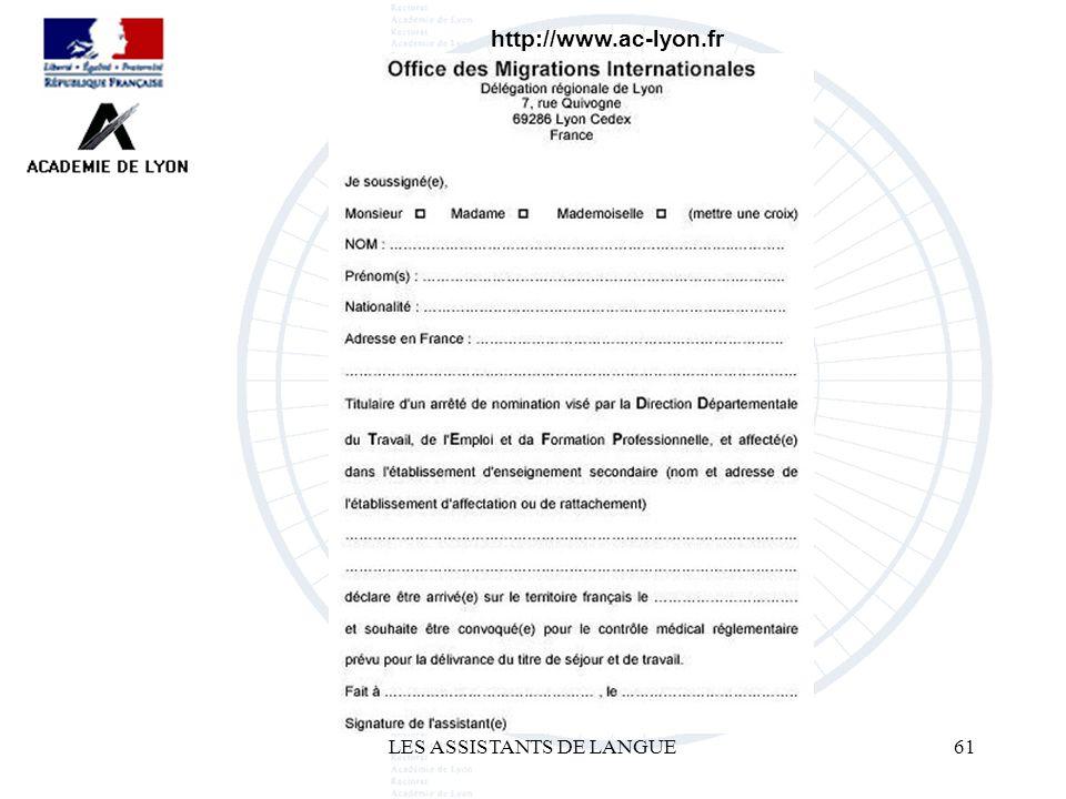 LES ASSISTANTS DE LANGUE61 http://www.ac-lyon.fr