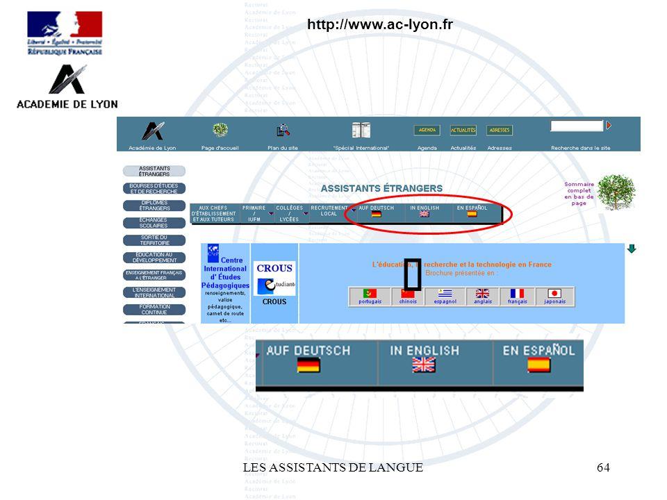 LES ASSISTANTS DE LANGUE64 http://www.ac-lyon.fr