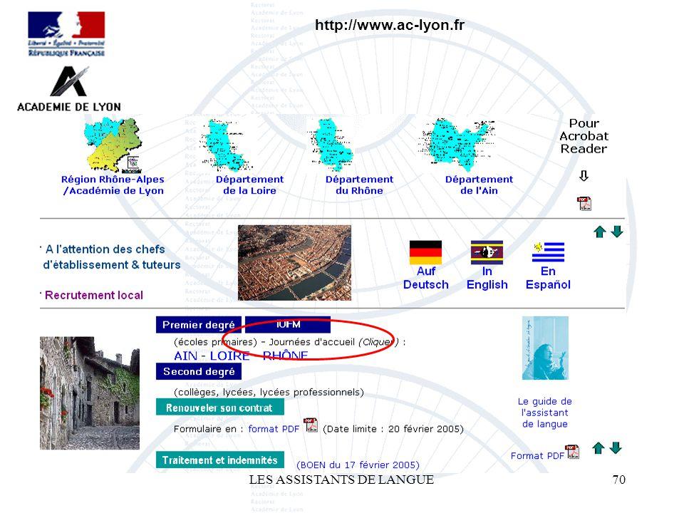 LES ASSISTANTS DE LANGUE70 http://www.ac-lyon.fr