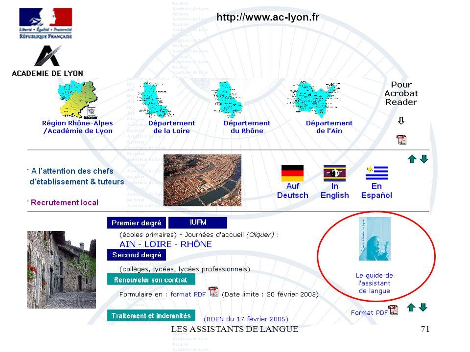 LES ASSISTANTS DE LANGUE71 http://www.ac-lyon.fr