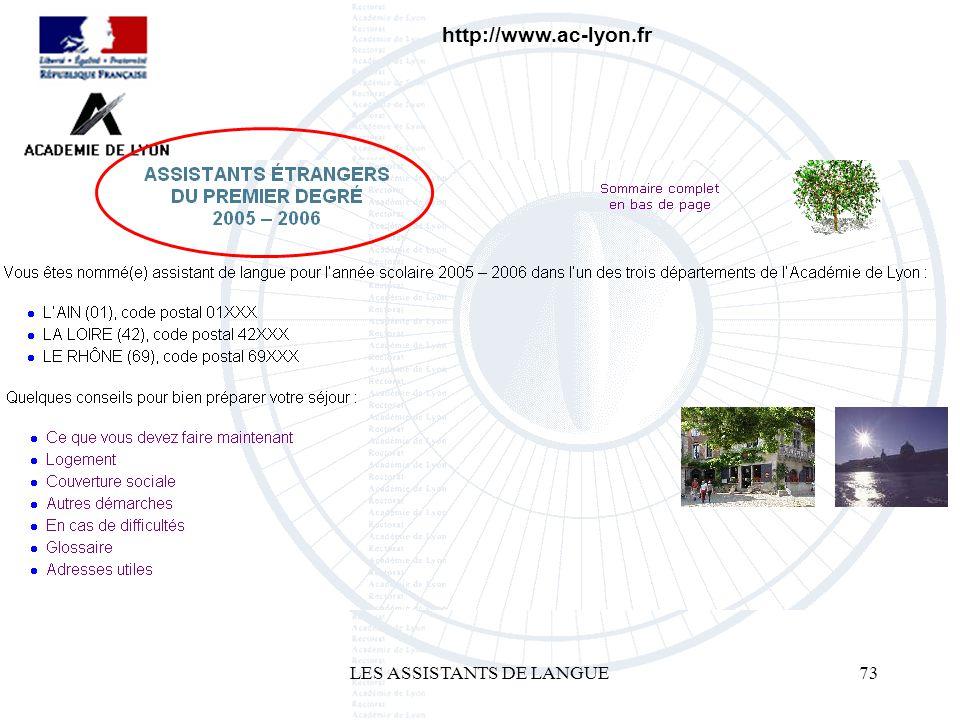 LES ASSISTANTS DE LANGUE73 http://www.ac-lyon.fr