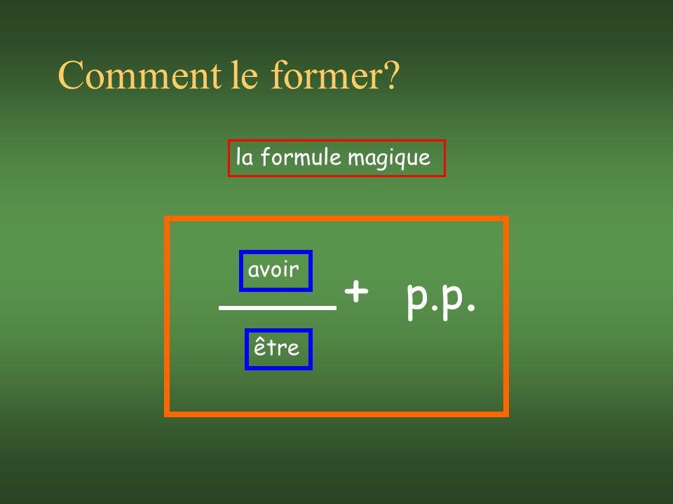 Comment le former? la formule magique avoir être + p.p.