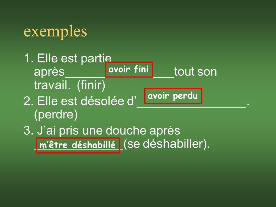 exemples 1. Elle est partie après________________tout son travail.