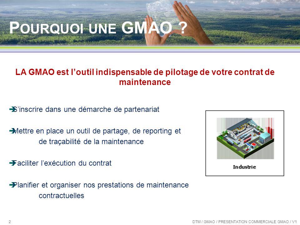 Les « plus » de SamFM Construction de rapports simplifiée DTM / GMAO / PRESENTATION COMMERCIALE GMAO / V1