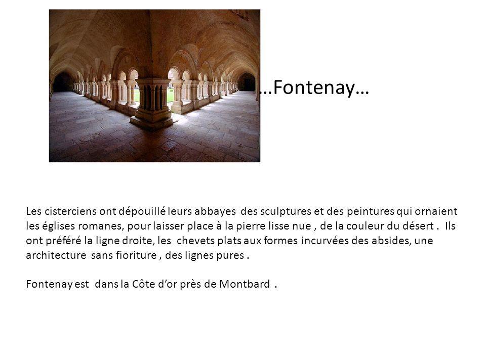 FF …Fontenay… Les cisterciens ont dépouillé leurs abbayes des sculptures et des peintures qui ornaient les églises romanes, pour laisser place à la pi