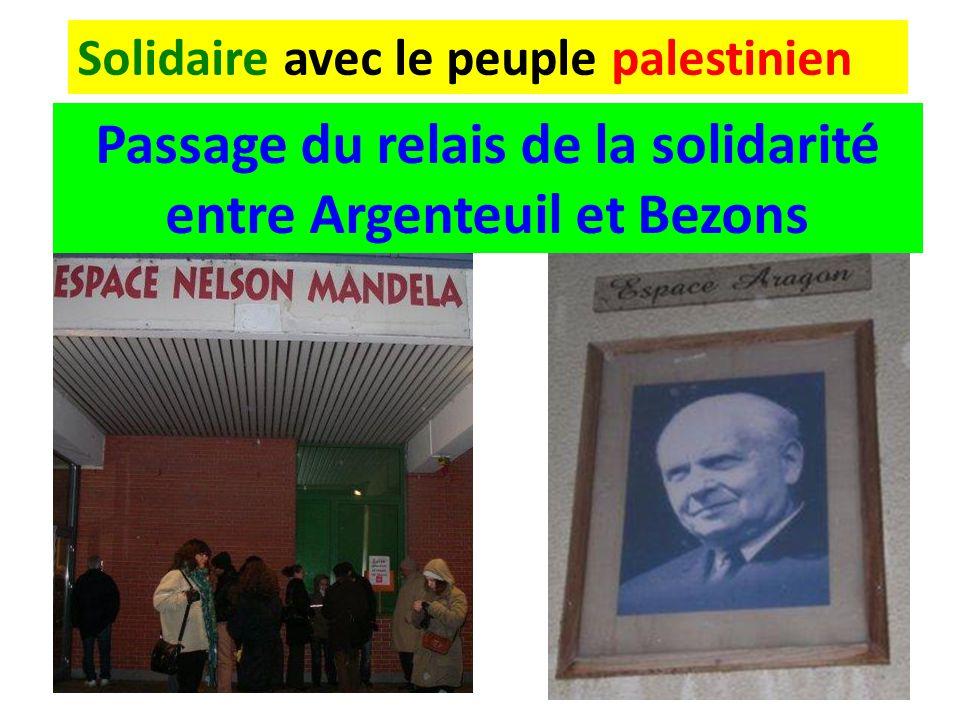 Solidaire avec le peuple palestinien Passage du relais de la solidarité entre Argenteuil et Bezons