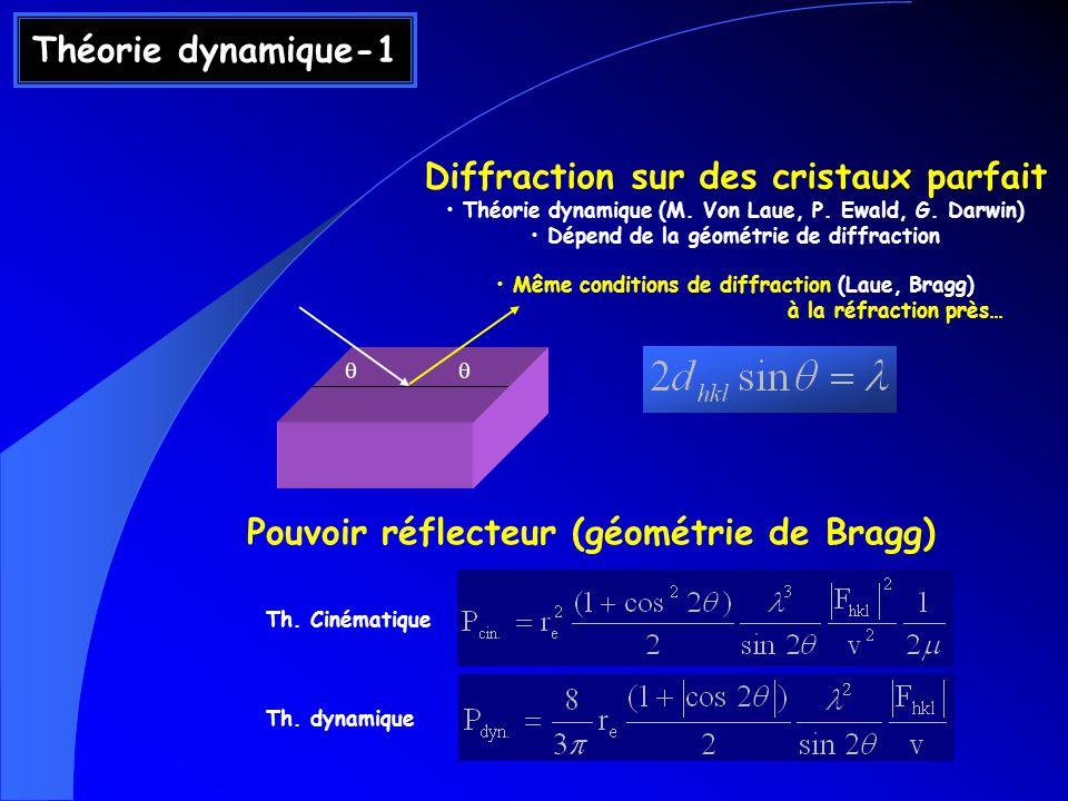 Théorie dynamique-1 Diffraction sur des cristaux parfait Théorie dynamique (M. Von Laue, P. Ewald, G. Darwin) Dépend de la géométrie de diffraction Mê