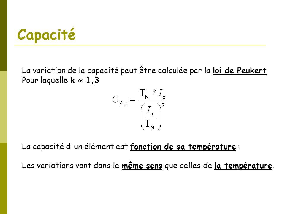 Capacité La variation de la capacité peut être calculée par la loi de Peukert Pour laquelle k 1,3 La capacité d'un élément est fonction de sa températ