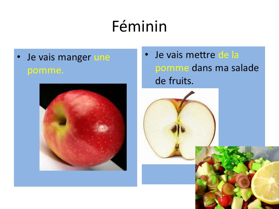 Féminin Je vais manger une pomme. Je vais mettre de la pomme dans ma salade de fruits.