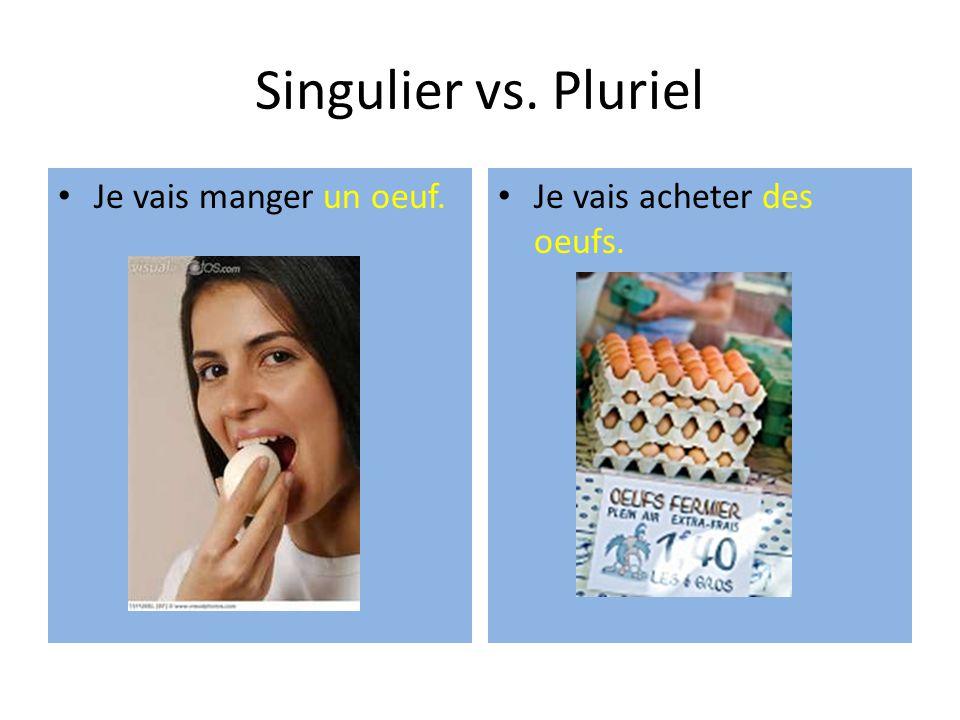 Singulier vs. Pluriel Je vais manger un oeuf. Je vais acheter des oeufs.