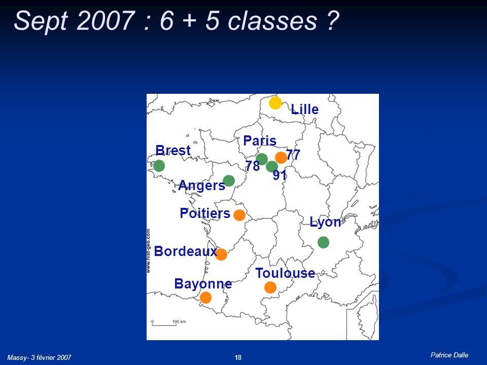 Patrice Dalle Massy- 3 février 200718 Sept 2007 : 6 + 5 classes ? Poitiers Bayonne Toulouse 77 Bordeaux Brest Lille Paris Lyon Angers 91 78